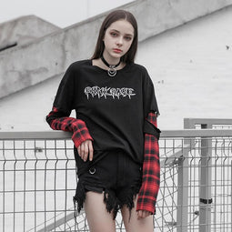 Women's Punk Rave Ripped Plaid Long Sleeved T-shirts-Punk Design