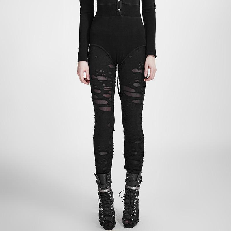 Women's Punk Ripped Black Leggings-Punk Design