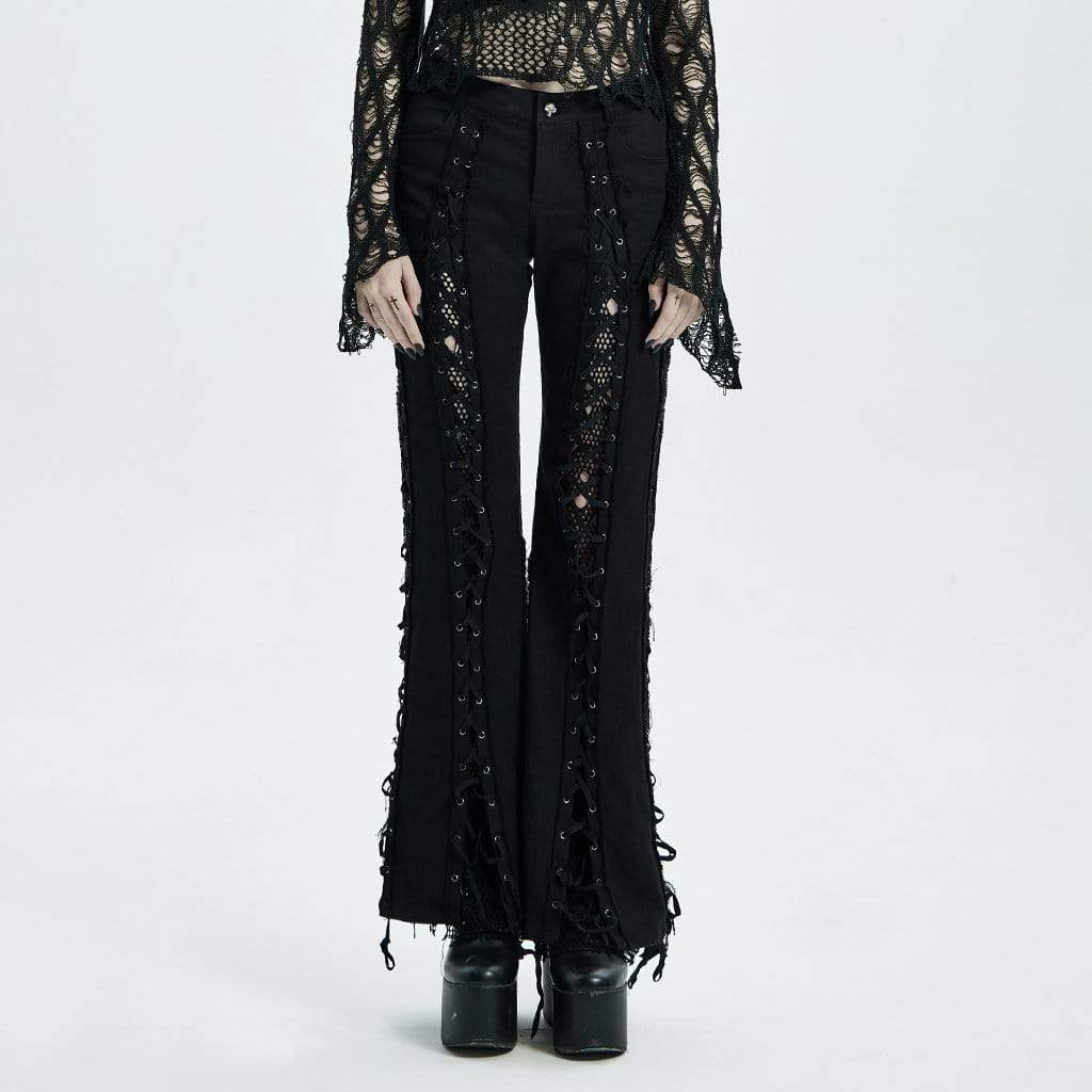 Punk Rave Punk Ripped Lace Up Bell-bottoms para mujer
