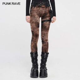 Punk Rave Women's Punk Ripped Pants With Harness