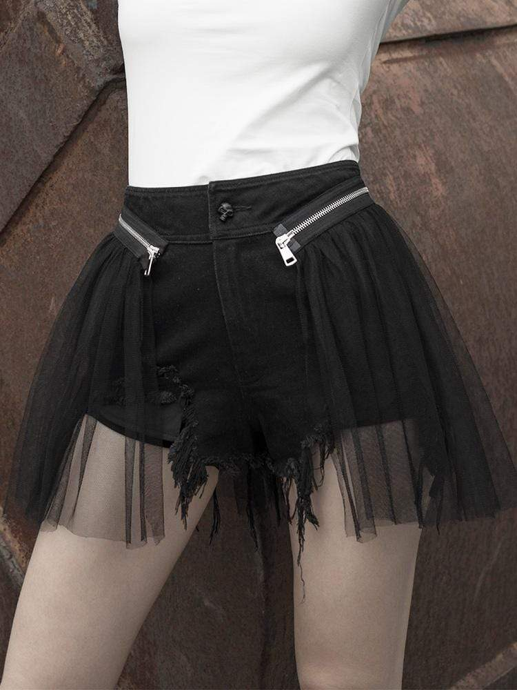 PUNK RAVE Damen Punk Ripped Shorts mit Mesh Layer