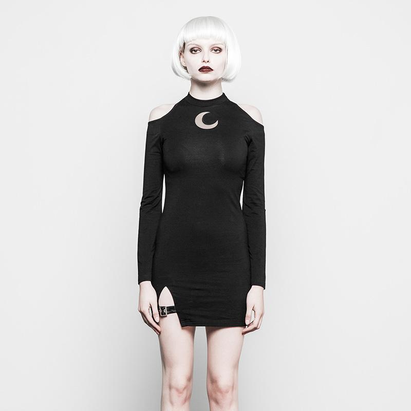Women's Punk Sheath Cold Shoulder Dress-Punk Design