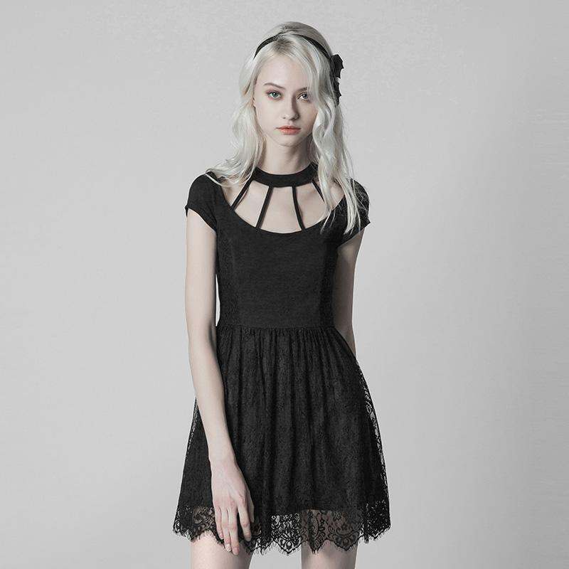 Women's Punk Short Lace Dress-Punk Design