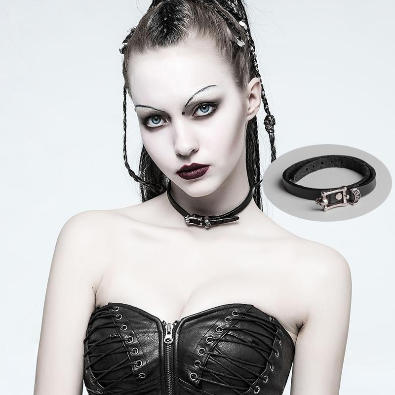 Women's Punk Skull Faux Leather Choker Necklace/Bracelets-Punk Design