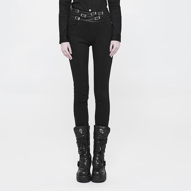 Women's Punk Slim Fit Pants With Cummerbund-Punk Design