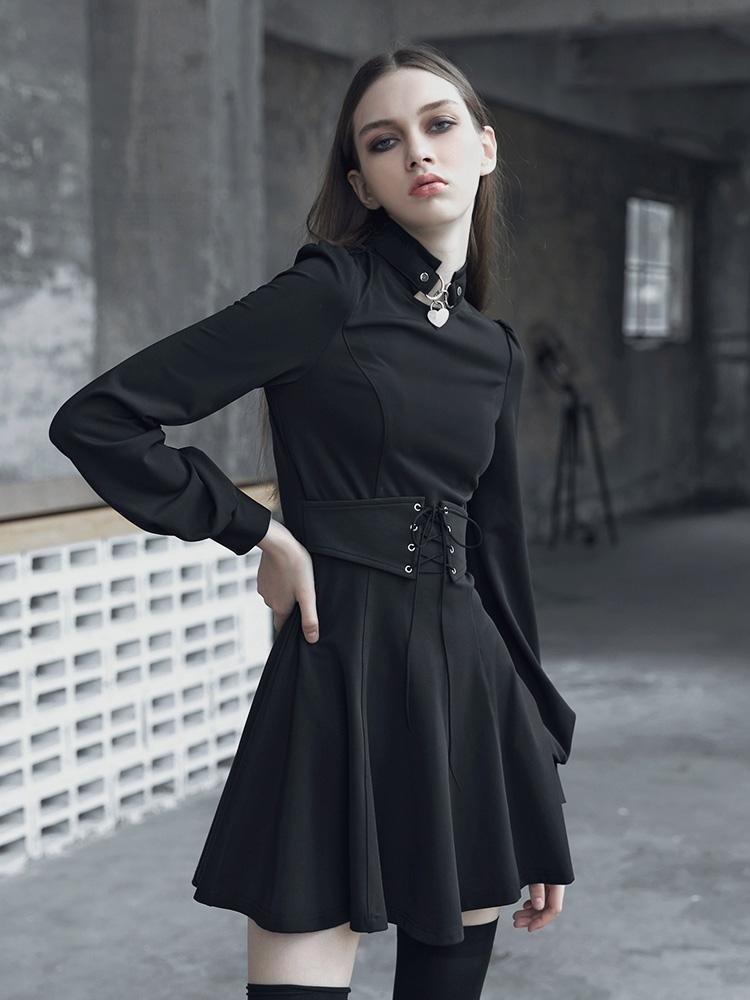 Women's Punk Slim Fitted Puff Sleeved A-Line Dress With Belt-Punk Design