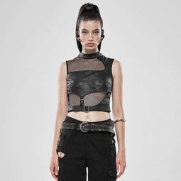 Punk Rave Women's Punk Slim Fitted Sleeveless Mesh Tops