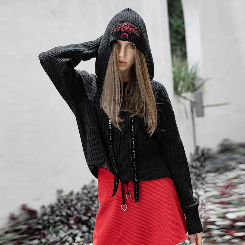 Women's Punk Strappy Long-sleeved Hooded Knitted Sweater-Punk Design