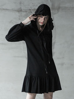 Women's Punk Strappy Ruffles Long-sleeved Hooded Dress-Punk Design