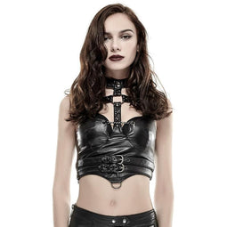 PUNK RAVE Women's Punk Straps Faux Leather Corselet