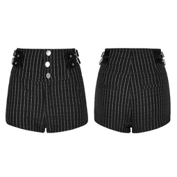 Women's PUNK Stripe Printed High Waist Slimming Short Pants-Punk Design