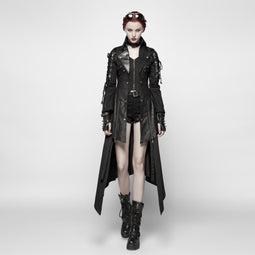 Women's Punk Studded Faux Leather Zipper Jacket Black-Punk Design
