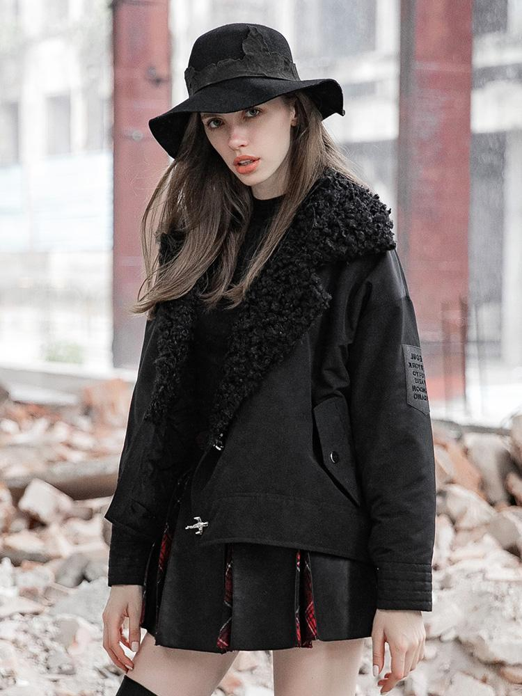 Women's Punk Turn-down Collar Buckle-up Fur Coat-Punk Design