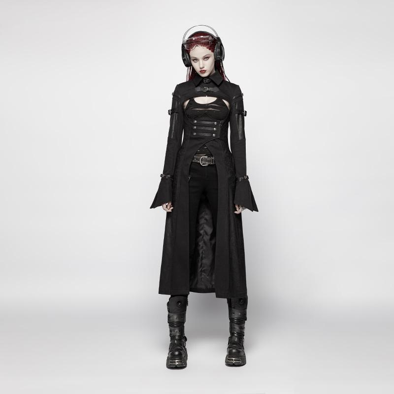 Women's Punk Turtleneck Buckle Long Coat-Punk Design