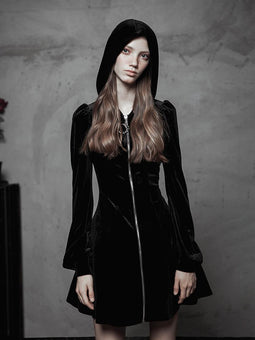 Damen Punk Velvet Zipper Schmal geschnittenes A-Line Dress-Punk Design