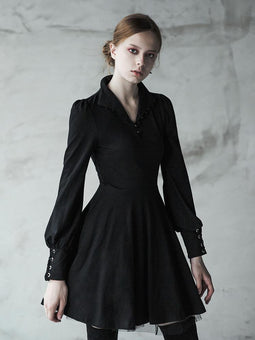 Women's Punk Vintage Bishop Sleeve Slim Fitted Circle Dress-Punk Design