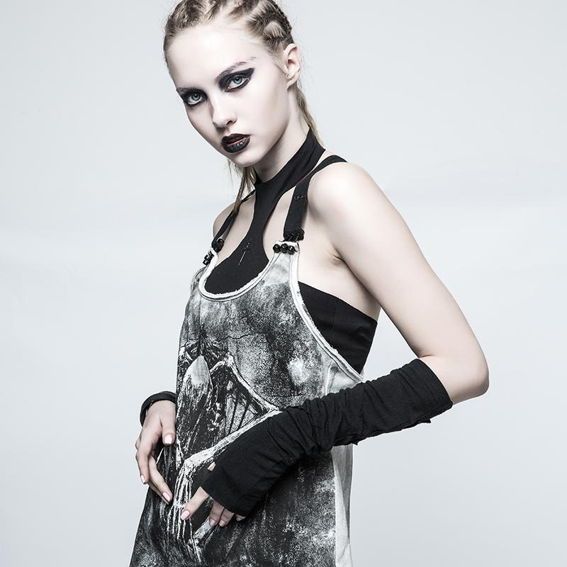 Women's Punk Winter Mitt Long Arm Gloves-Punk Design
