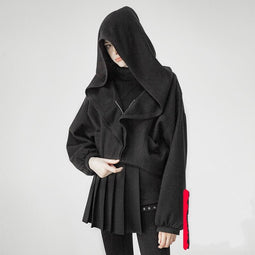 Women's Punk Witch Bat Sleeved Short Jacket With Hood-Punk Design