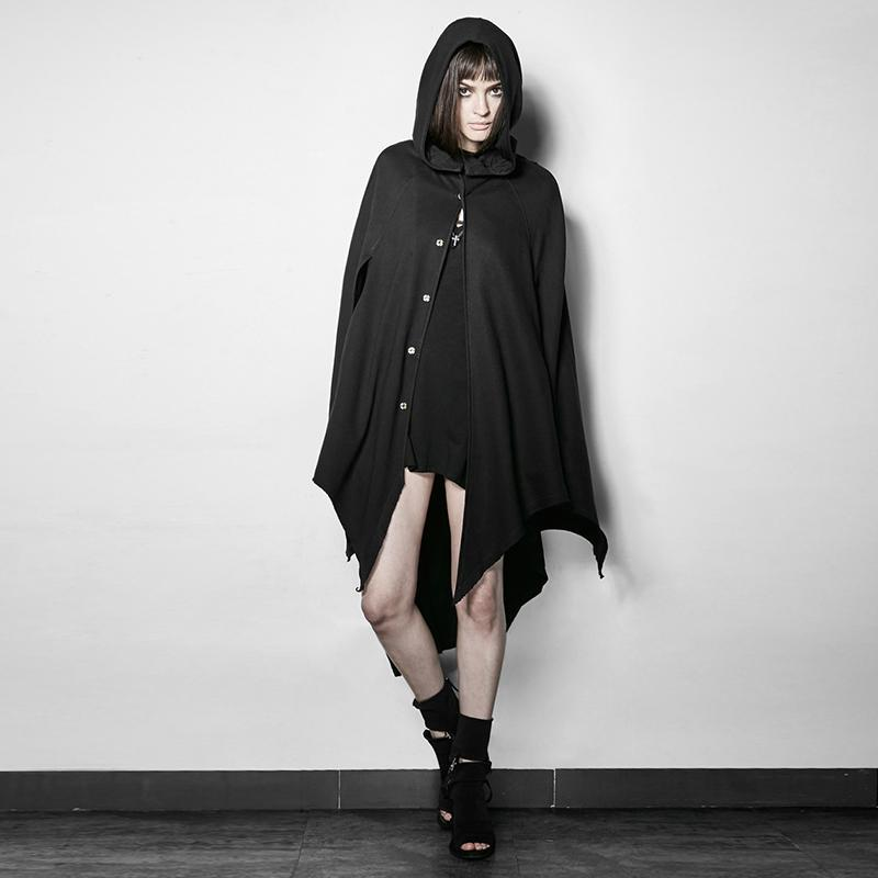 Women's Punk Witch Batwing Sleeve Hooded Cloak-Punk Design