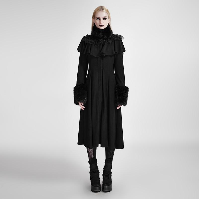 Women's Punk Woolen Knit Overcoats With Faux Leather Collar/ Shawl-Punk Design