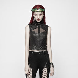 Women's Punk Zip Up Stand Collar Faux Leather Waistcoat Vest-Punk Design