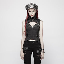 Women's Punk Zip Up Stand Collar Waistcoat Vest-Punk Design