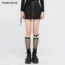 Jupes Punk Rave Femme Punk Zipper Buckle-up avec poche