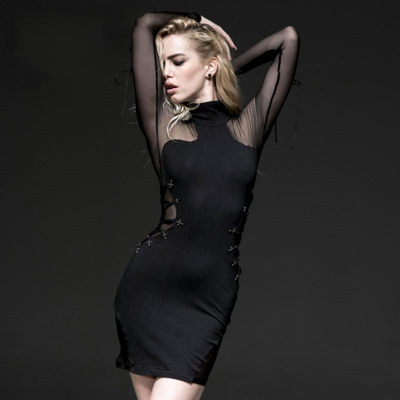 Women's Sexy High-collar Lace-up Mesh Long Sleeved dress-Punk Design