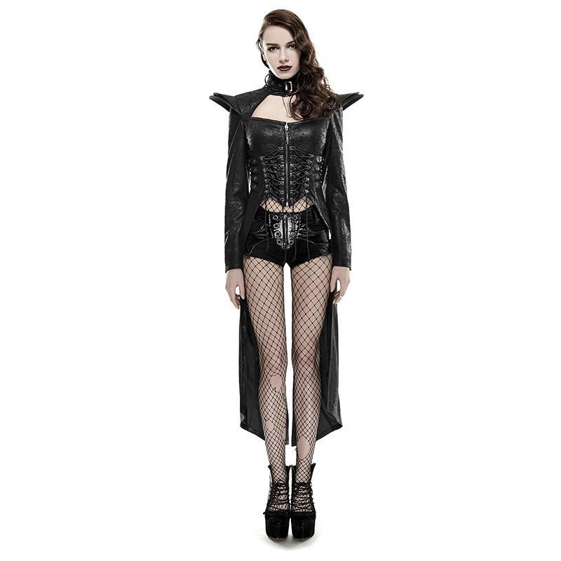 Women's Sexy Lace-up Long Rider Faux Leather Coat-Punk Design