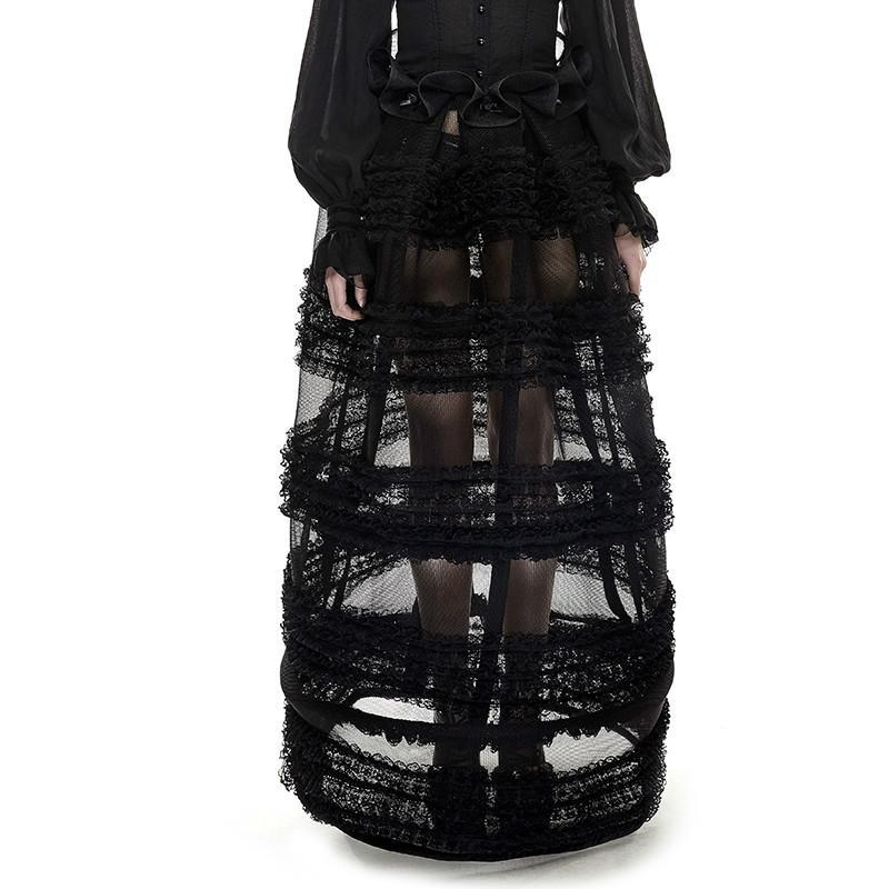 Women's Sheer Adjustable Multi Layered Lace Bustle Skirts-Punk Design