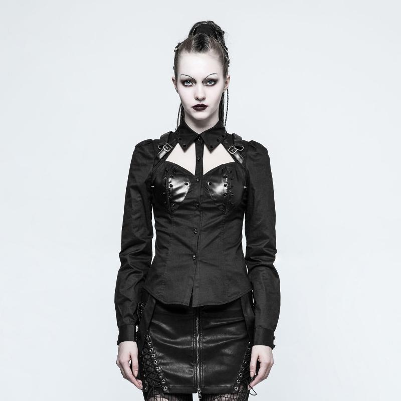 Women's Gothic Halterneck Tops Black-Punk Design