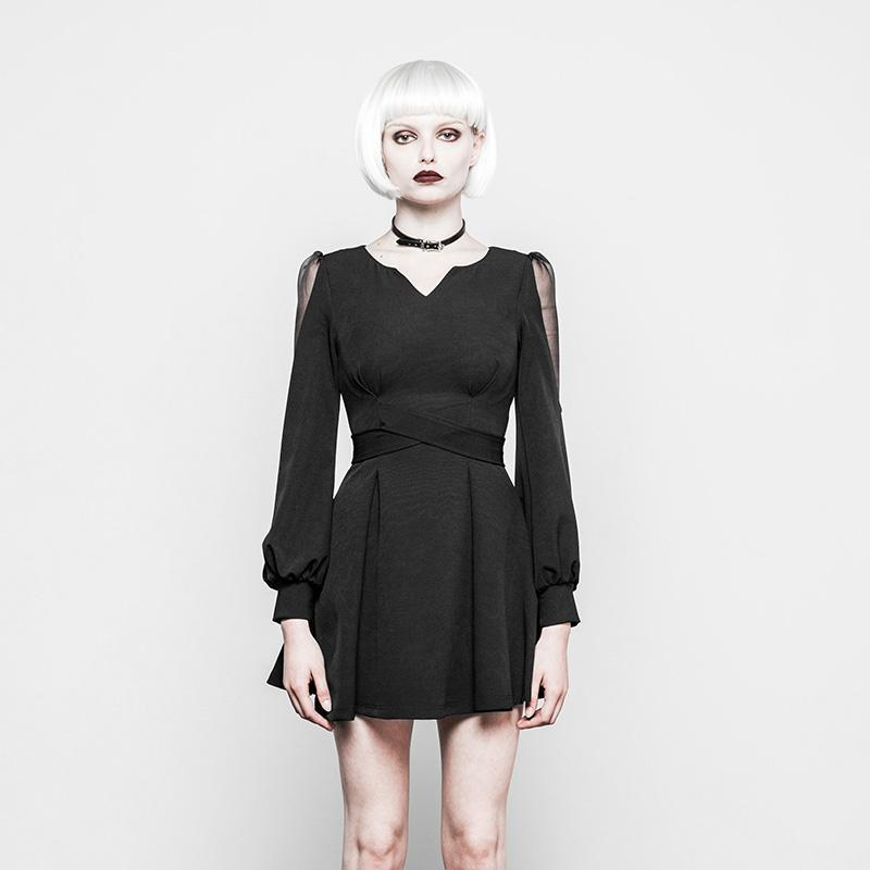 Women's Short Goth Dress With Net Inset Sleeves-Punk Design