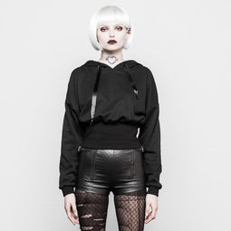 Women's Short Punk Top With Pixie Hood-Punk Design