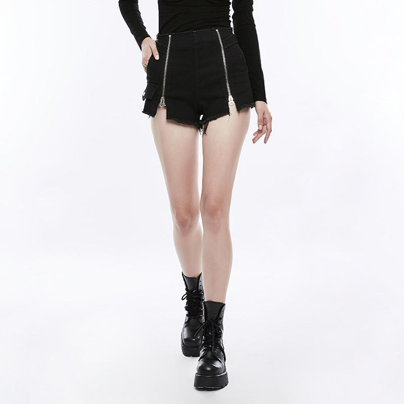 Damen Double Zipper Wide Leg Denim Shorts-Punk Design