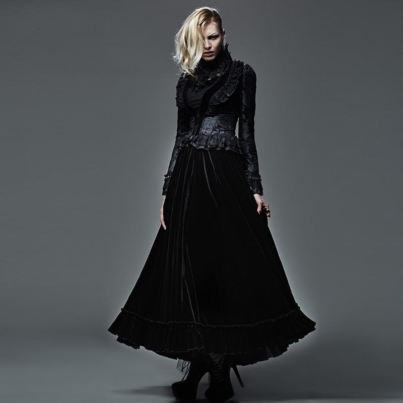 Women's Gothic Pleuche Maxi Skirt Black-Punk Design