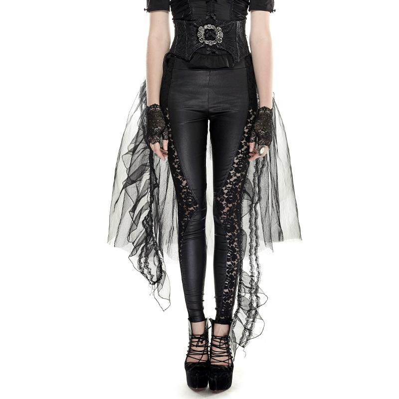 Women's Gothic Sheer Removable Mesh Swallow Tail Skirt-Punk Design