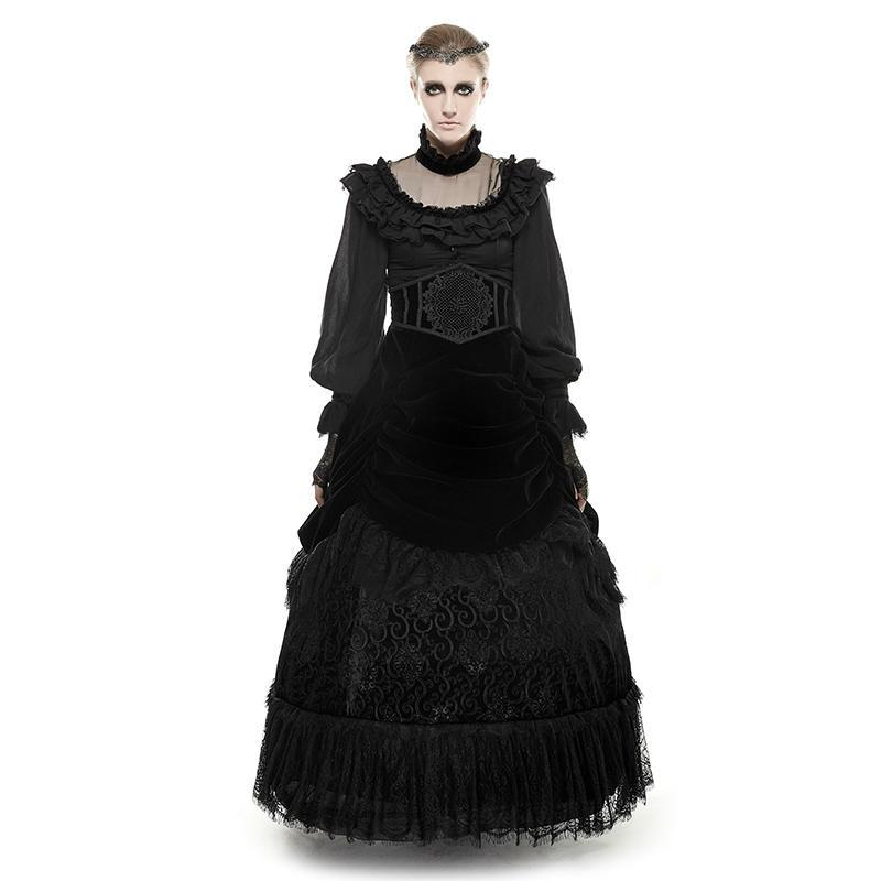Women's Gothic Velvet And Lace Multilayer Maxi Skirt-Punk Design
