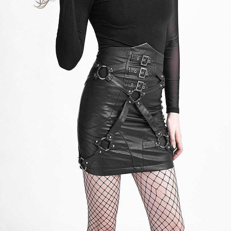 Women's High Waisted Faux Leather Straps Skirt-Punk Design