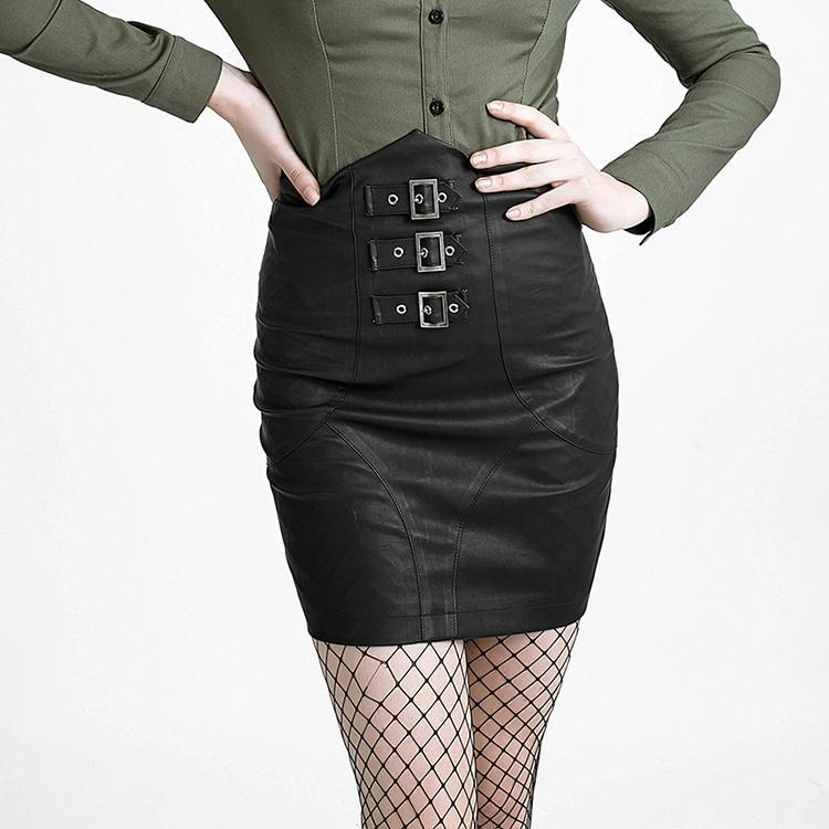 Women's High Waisted Faux Leather Wrap Skirt-Punk Design