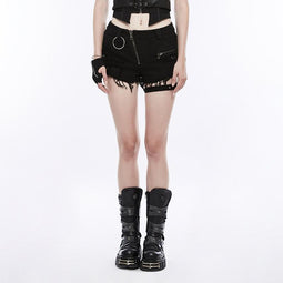 Women's Inclined Zipper Distressed Short-Punk Design