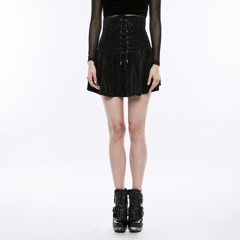 Women's Lace-up Faux Leather Corset With Pleated Skirt-Punk Design