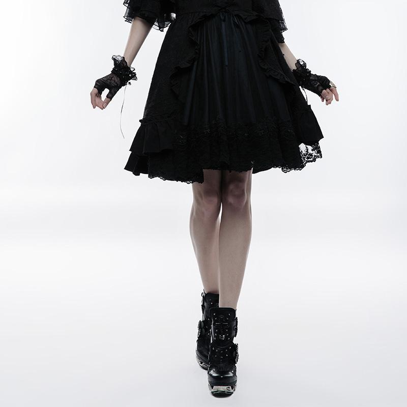Women's Lolita Ribbon Bow Bubble Jacquard Circle Skirt-Punk Design