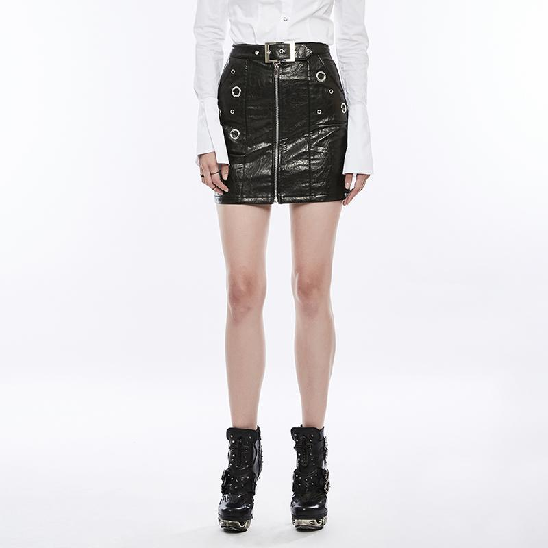 Women's Punk Zipper Faux Leather Wrap Skirt With Belt-Punk Design