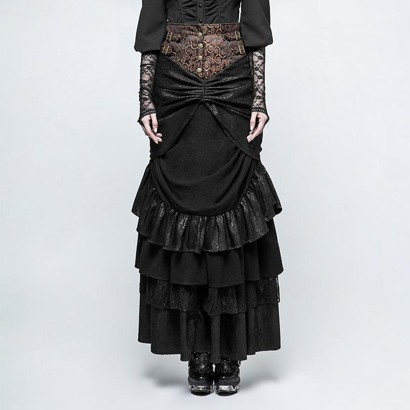 Women's Steampunk Multilayer Forked Tail Maxi Skirts-Punk Design