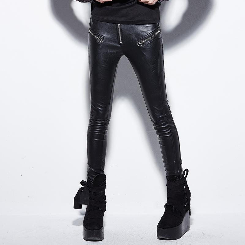 Women's Slim Fitted Faux Leather Pants-Punk Design