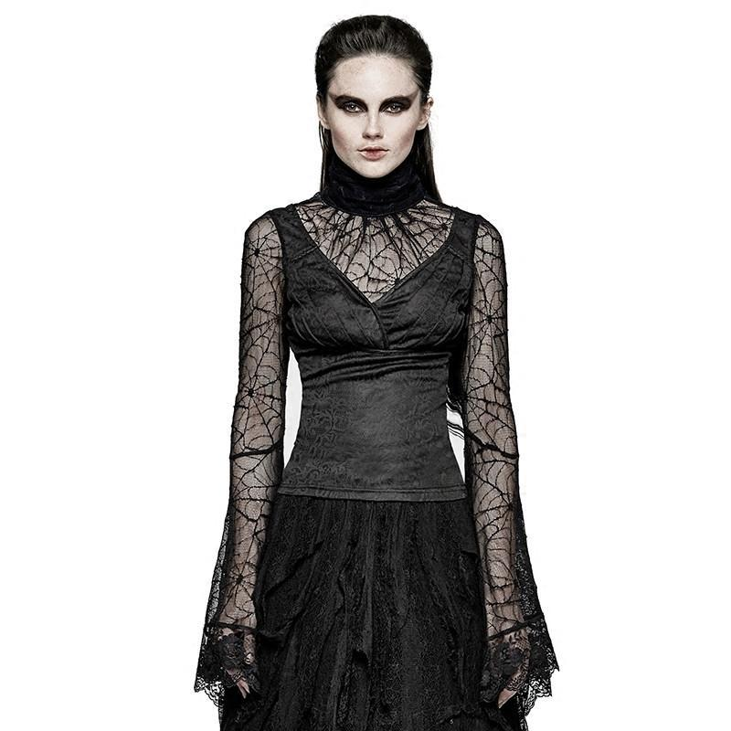 Women's Spider Web Sleeves High Collar V Neck Lace Tops-Punk Design