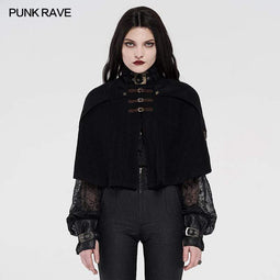 Punk Rave Women's Stand Collar Buckle-up Steampunk Capes
