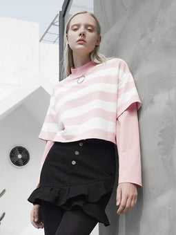 punk rave Women's Stand Collar long Sleeved Fake Two Pieces Stripes T-shirts
