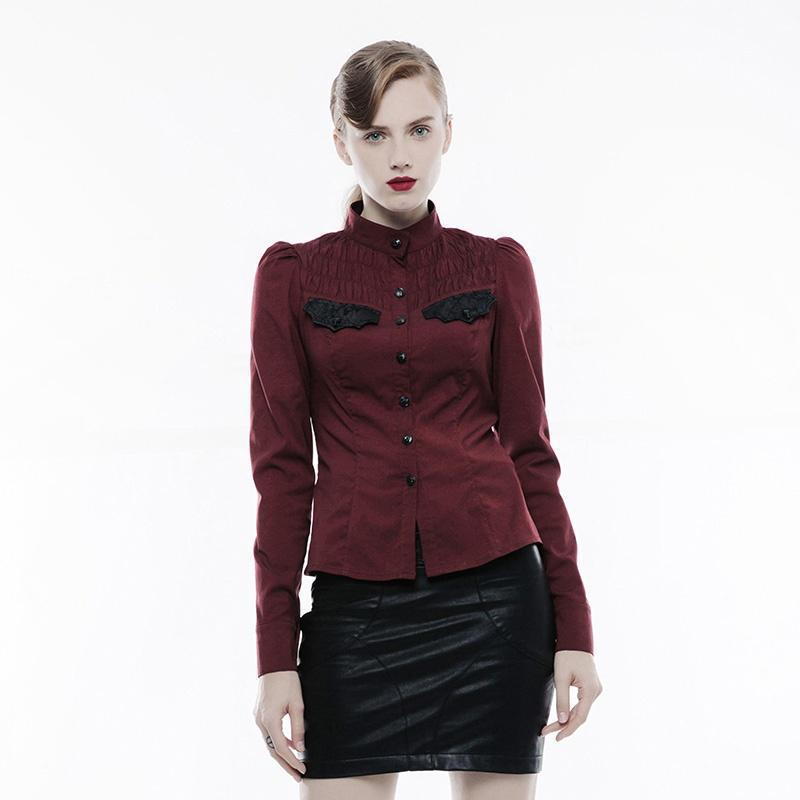 Women's Stand Collar Ruched Slim Fitted Shirt-Punk Design