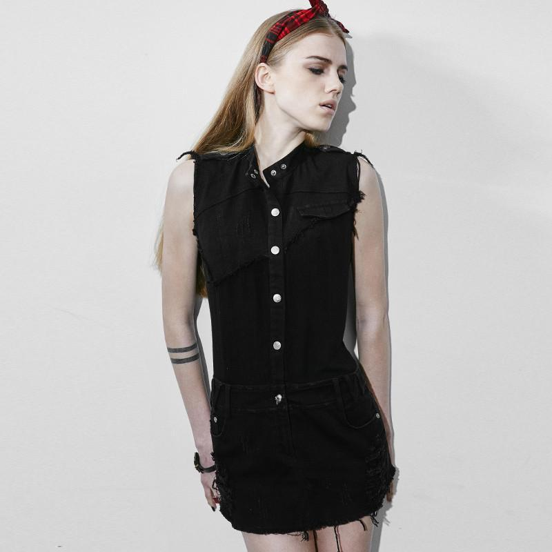Women's Stand Collar Sleeveless Slim Fitted Denim Dress-Punk Design
